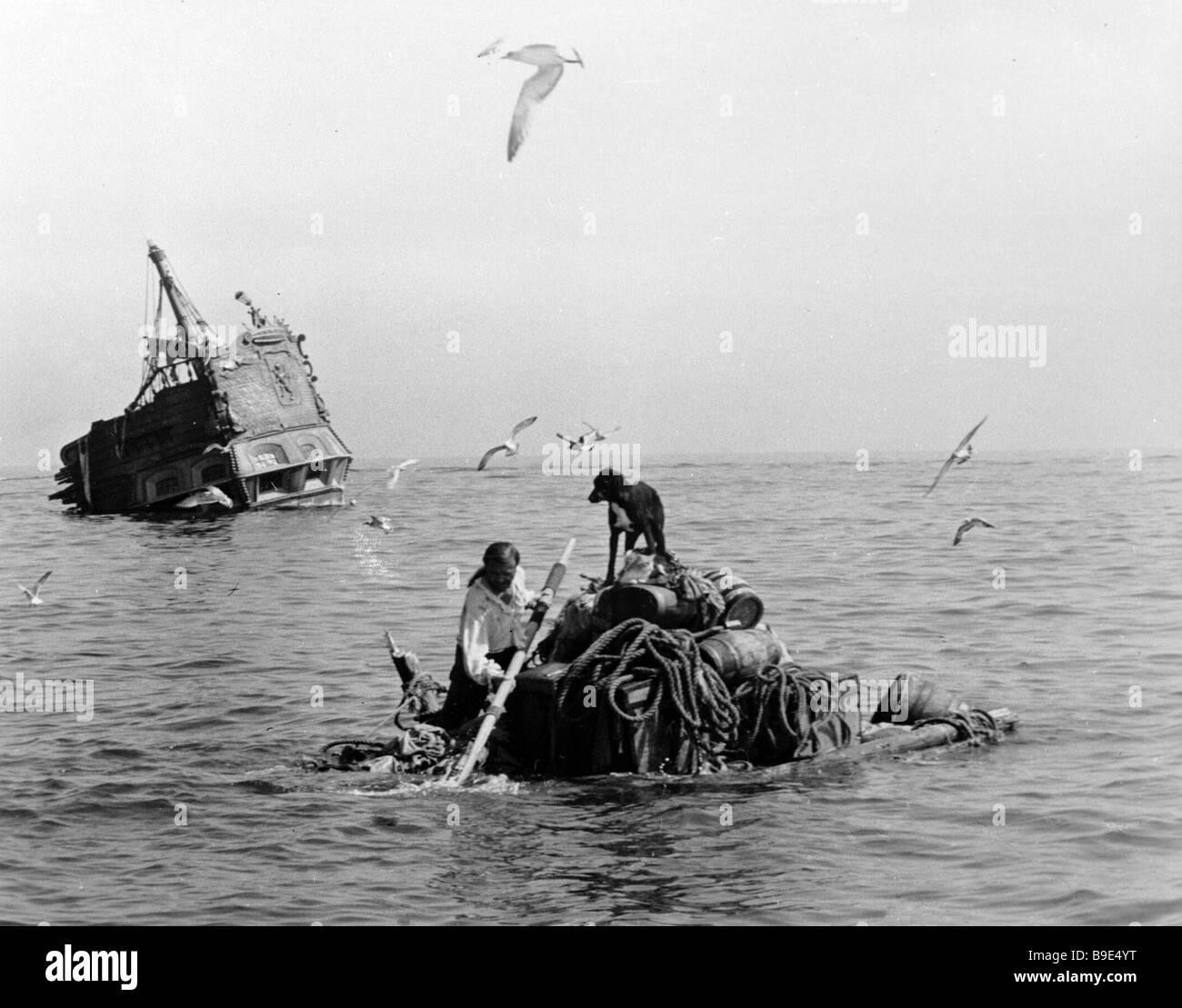 Fragment du film La vie et les Aventures de Robinson Crusoé Photo Stock
