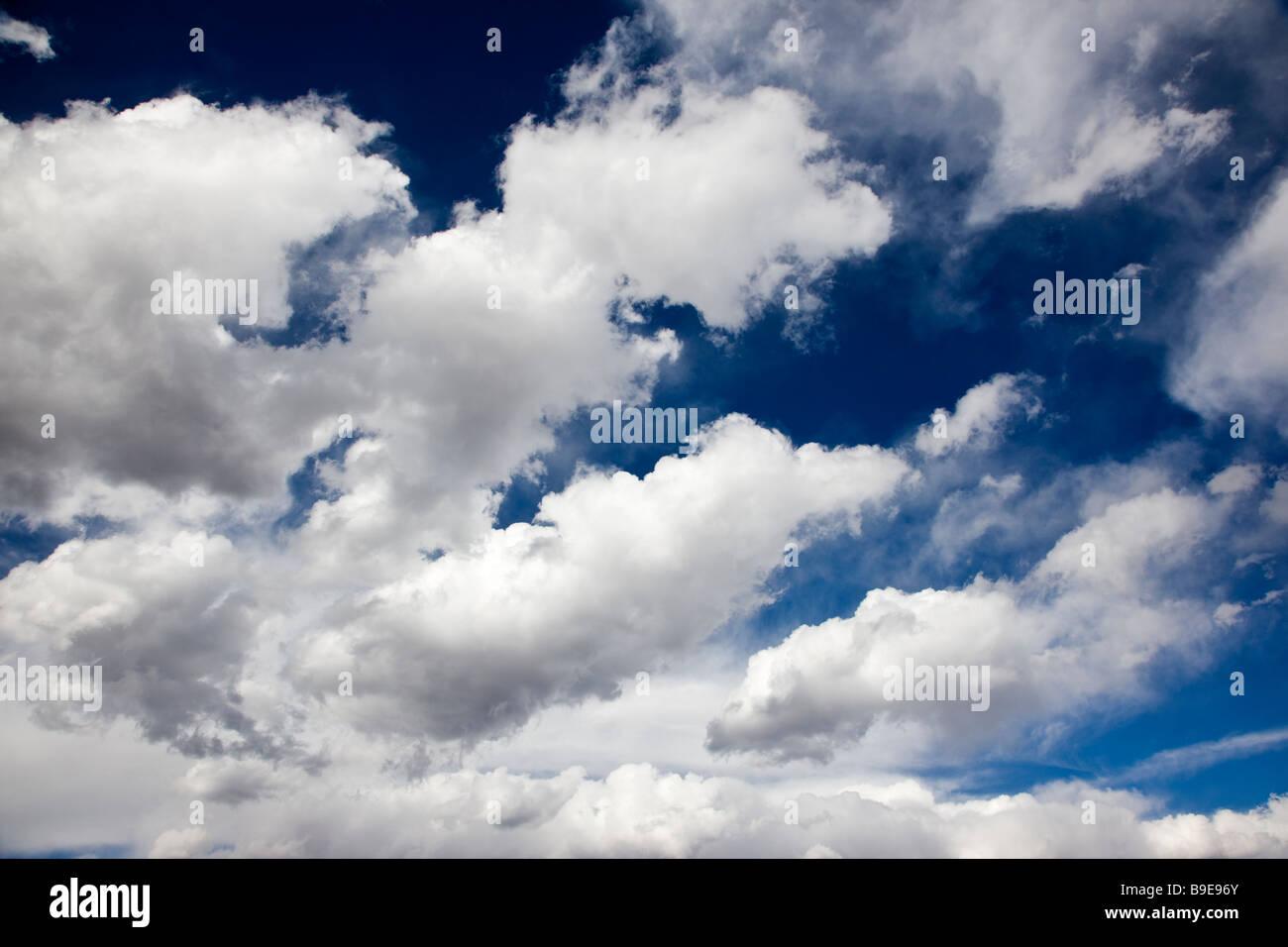 Puffy blanc nuages sur un ciel bleu du Colorado jour Photo Stock