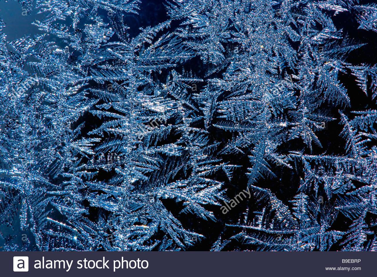 Close up de givre sur une vitre étincelante à moins 20 degrés centigrades Photo Stock