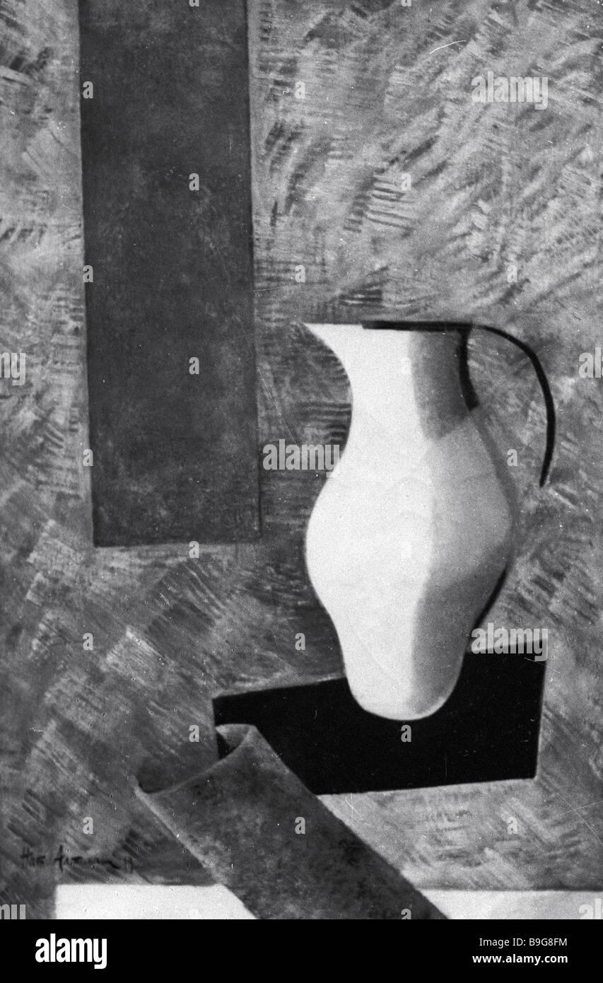 Reproduction de Nikolai Altman s peinture Nature morte au pichet Photo Stock