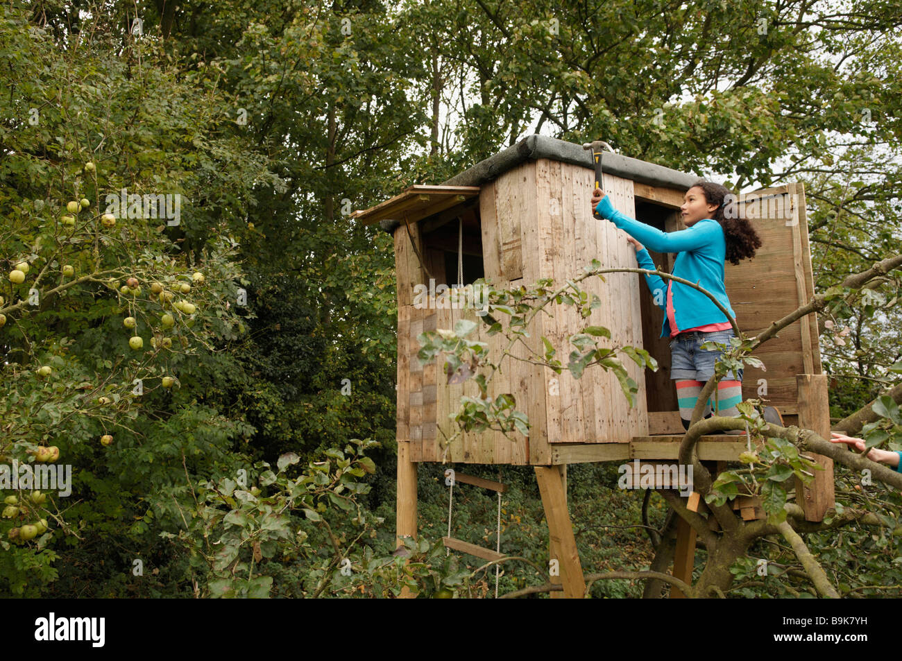 Girl mending treehouse Banque D'Images