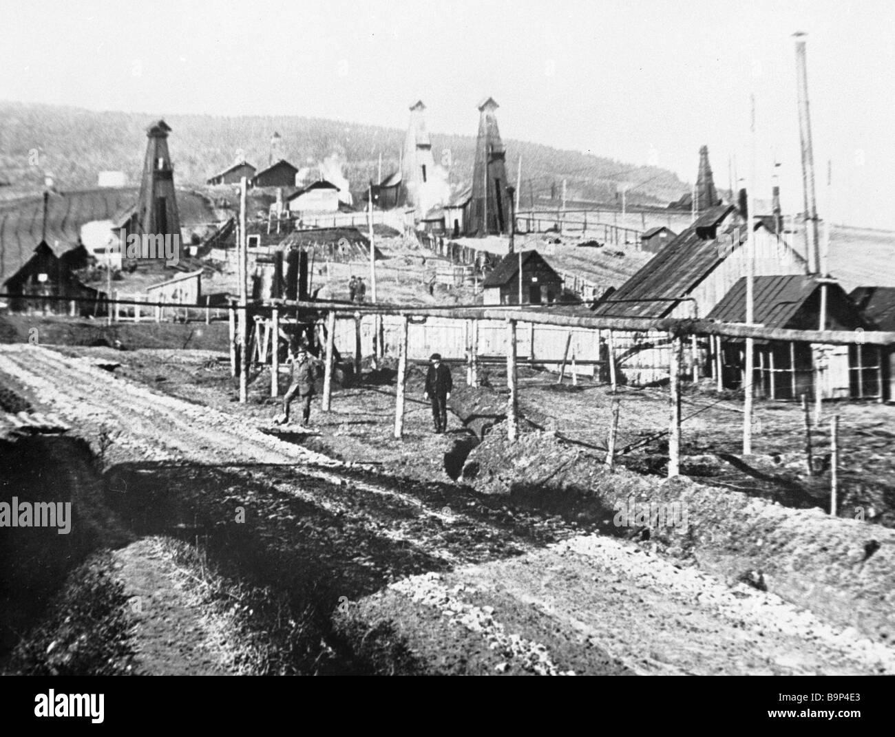 Vue de l'Ukrainian Borislav ville au début du xxe siècle Photo Stock
