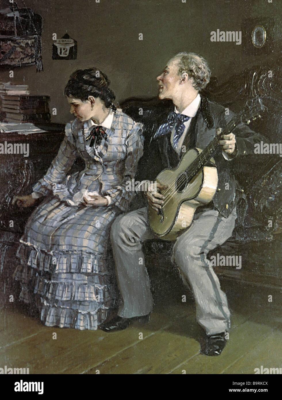 Illarion Pryanishnikov s peinture Romances cruelles de la collection de la Galerie Tretiakov Photo Stock