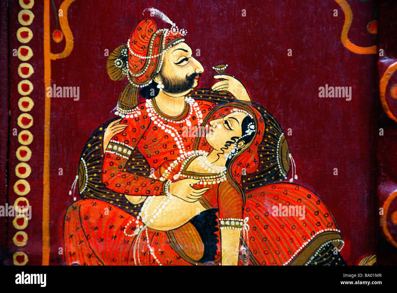Fenêtre sur la peinture du Rajasthan, Rajasthan, Inde. Photo Stock