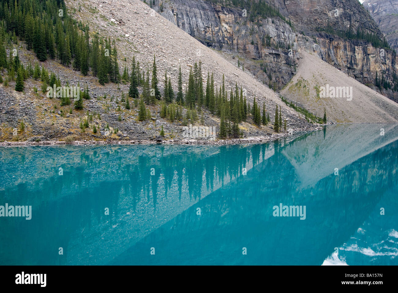 Le lac Moraine, Banff National Park, Alberta, Canada Photo Stock