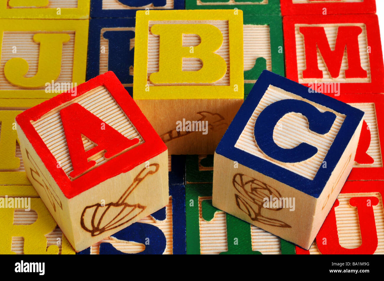 ABC alphabet blocks en bois Photo Stock