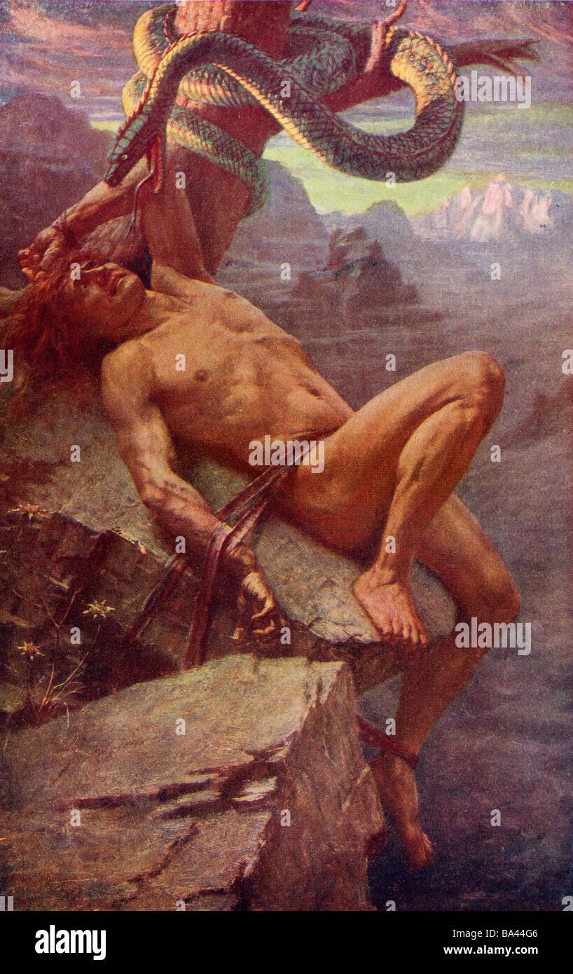 La punition de Loke. La mythologie nordique Photo Stock