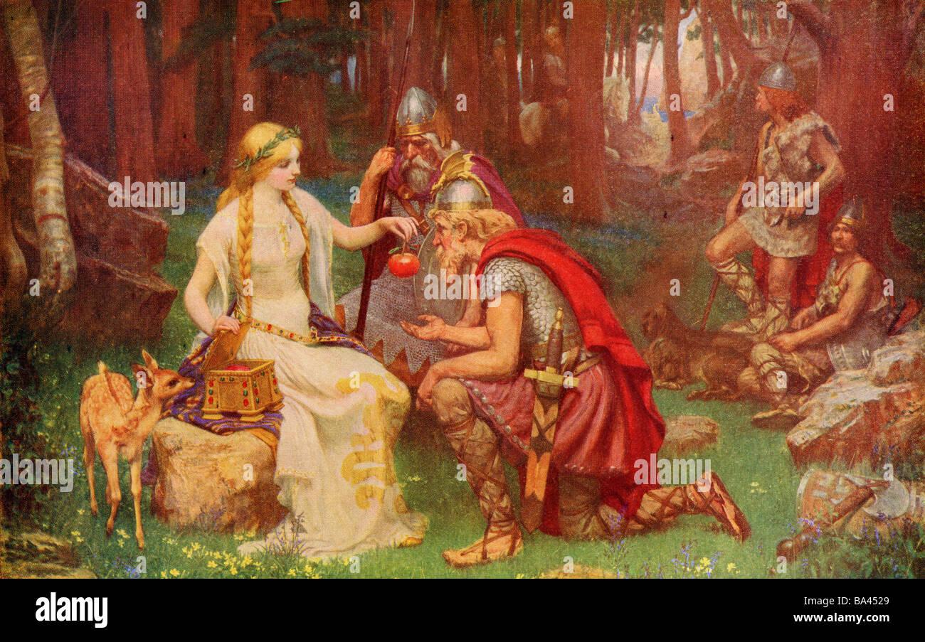 Idun et les pommes. La mythologie nordique Photo Stock