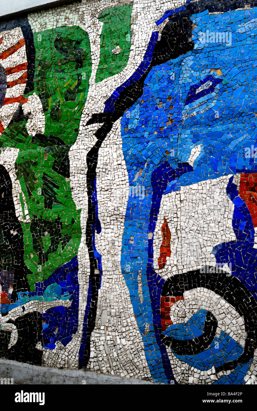 Paris France, 'Immobilier', 'logement, Détail de la mosaïque murale', l'art abstrait Photo Stock