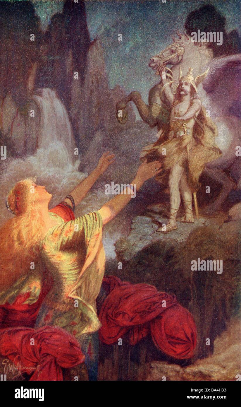 S Hundingsbane Retour à Valhalla. La mythologie nordique Photo Stock