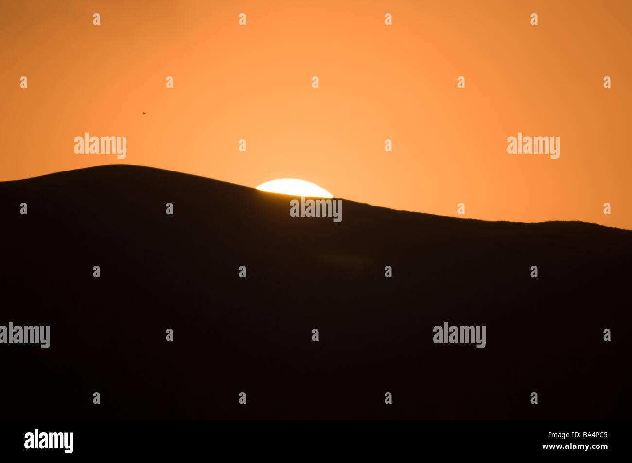 Lever du soleil dans la réserve nationale de Paracas au Pérou Photo Stock