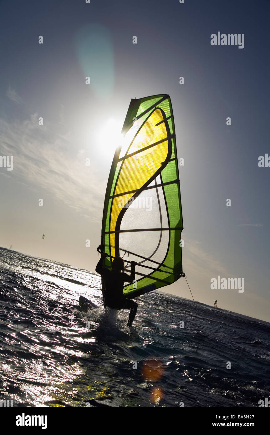 Windsurfer en action à Surfer's Point, connue localement sous le nom de Margaret's. Margaret River, Photo Stock