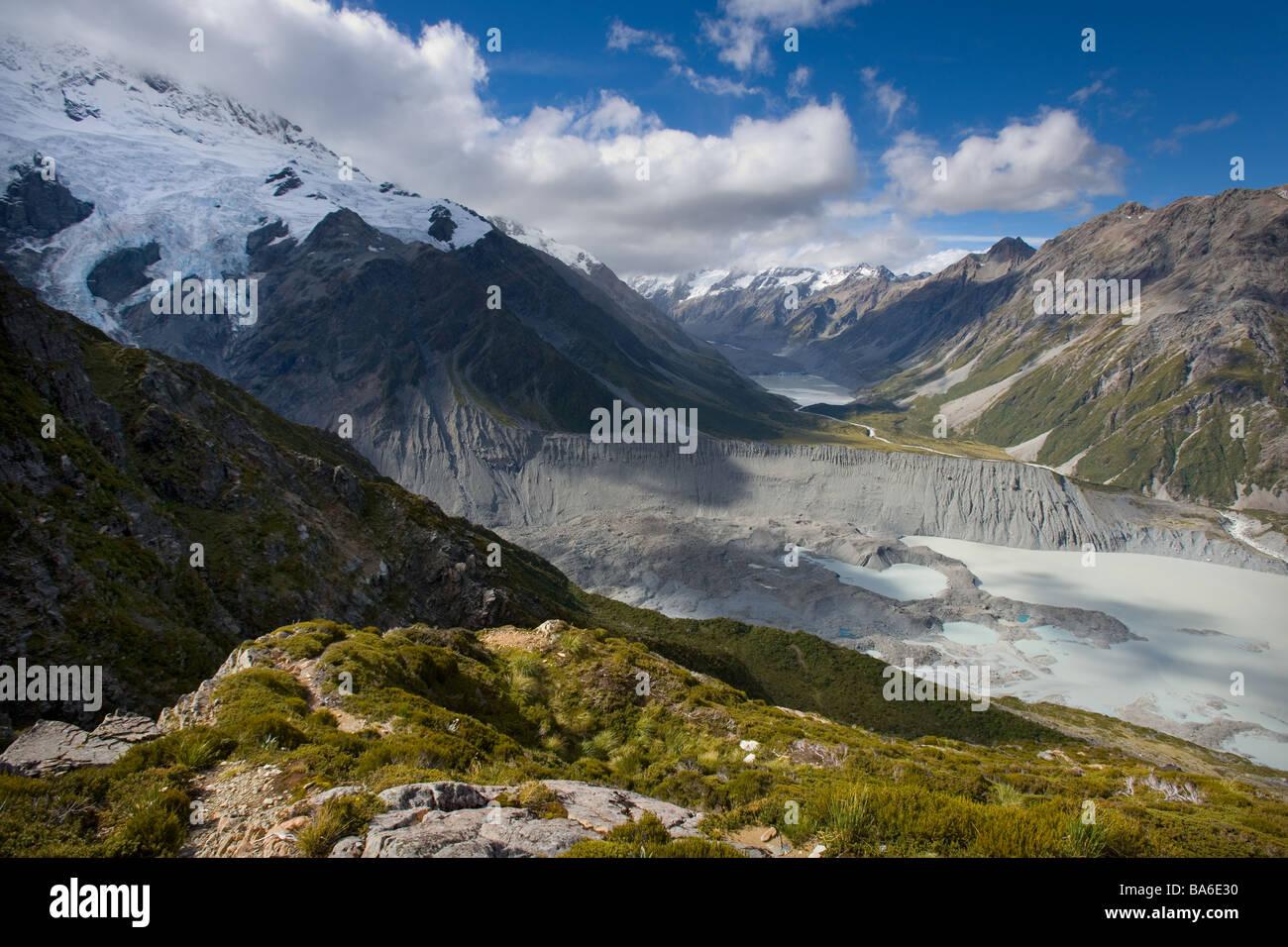 Hooker Glacier Mueller Lacs Mount Cook Nouvelle Zélande Photo Stock