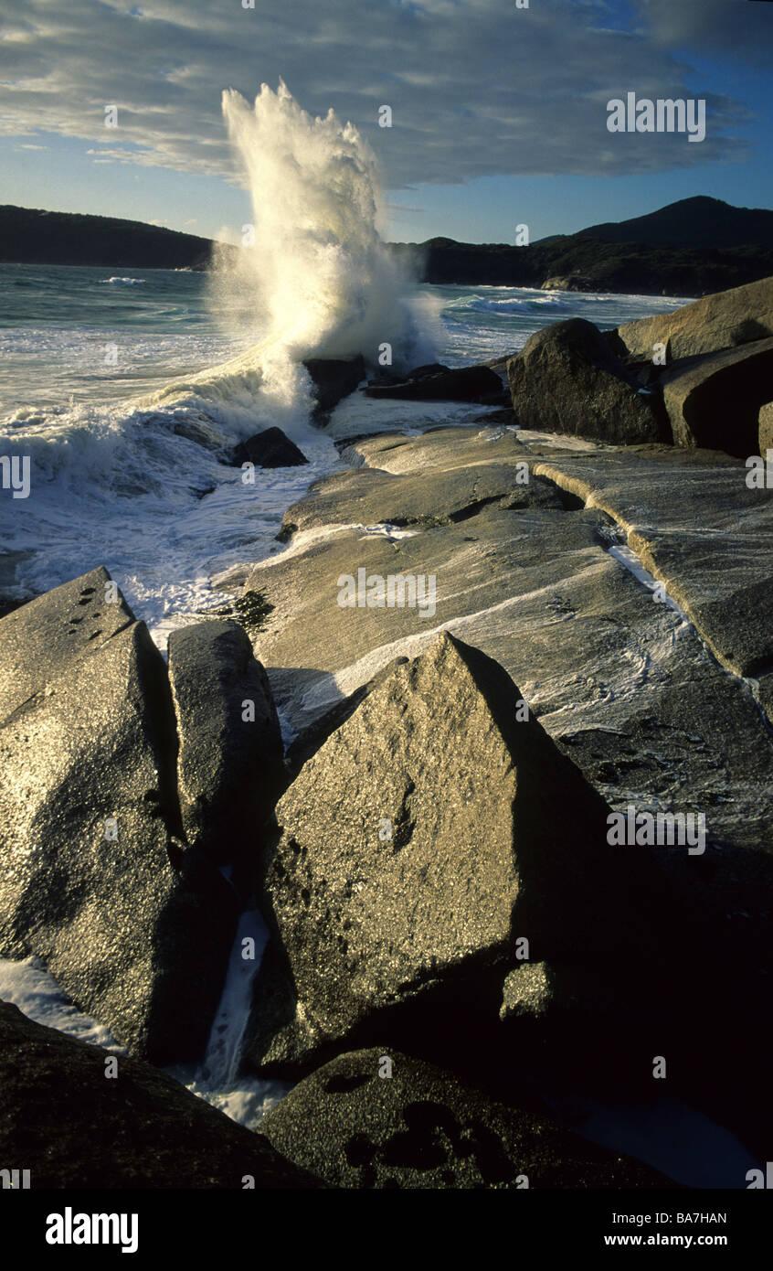 Les roches de granit de près de Whisky Bay, Wilsons Promontory National Park, Victoria, Australie Banque D'Images