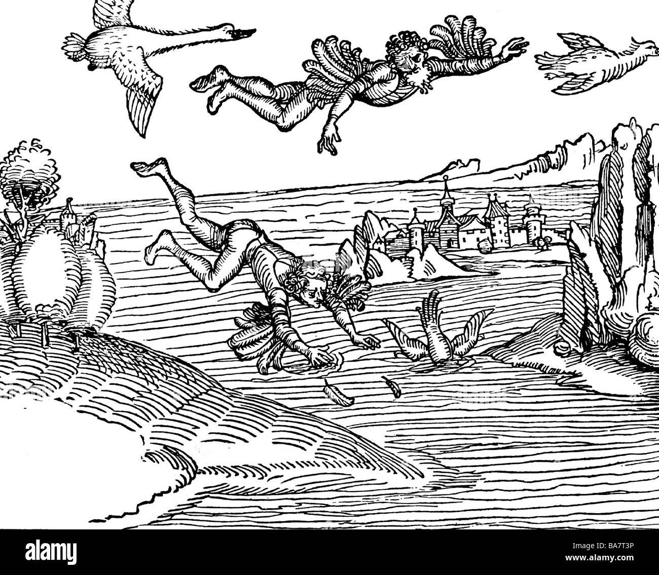 L'Icare et Dédale, personnages de la mythologie grecque, woodcut, vers 15ème siècle, , Additional Photo Stock