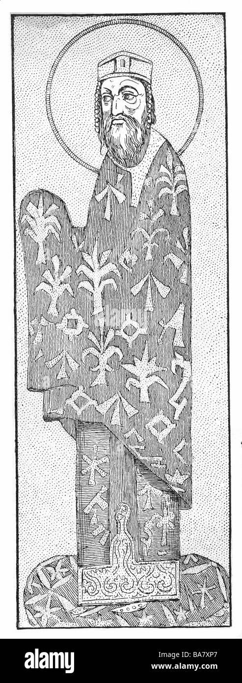 Alexis I Comnène, 1048 - 15.8.1118, l'empereur byzantin depuis 1078, pleine longueur, gravure sur bois, Photo Stock