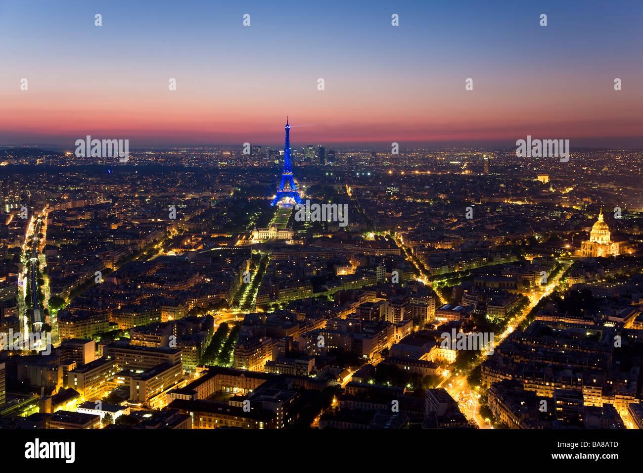 Vue sur Tour Eiffel Tower Paris France Photo Stock