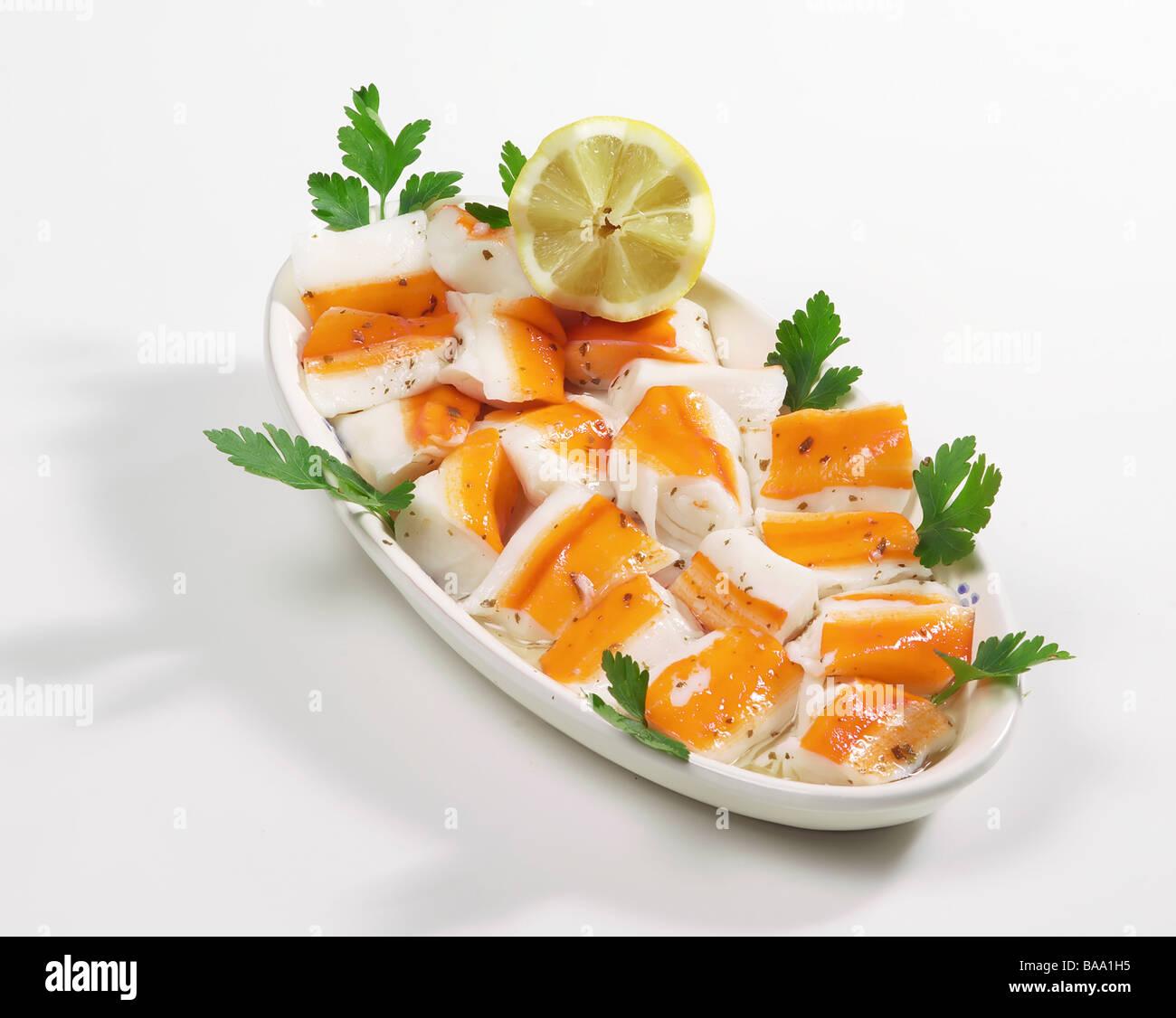 Le plat de crabe surimi Photo Stock