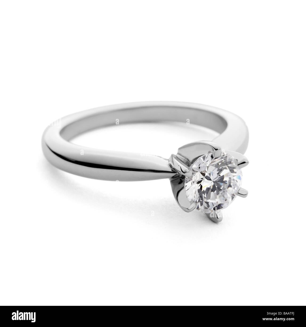 Solitaire diamant bague de fiançailles Photo Stock