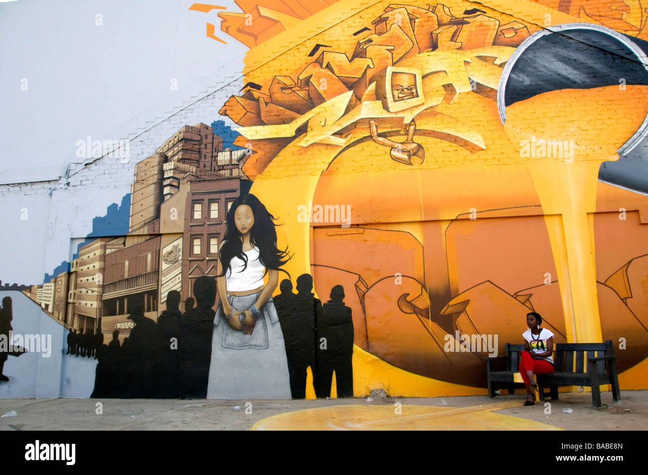 Peinture murale Newtown Johannesburg Afrique du Sud Photo Stock
