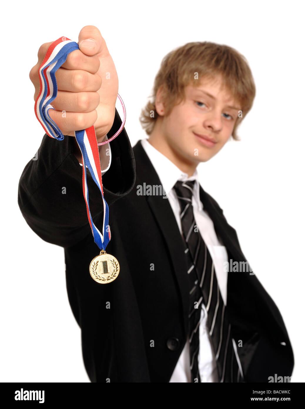 Écolier avec une première médaille d'or Photo Stock