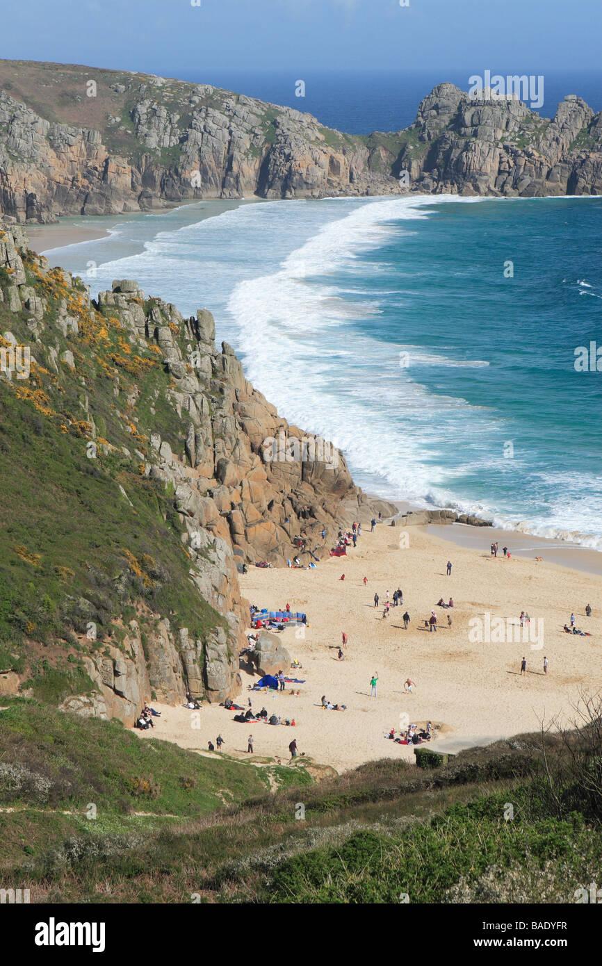 Cote Sud Angleterre cornwall porthcurno plage de sable sur la côte sud des cornouailles