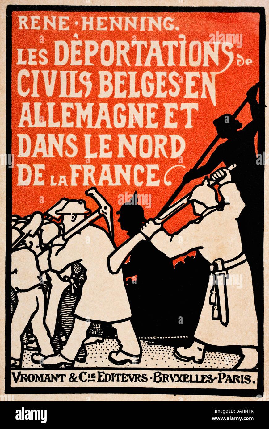 Couverture du livre de 1919 les déportations de civils belges en Allemagne et dans le Nord de la France par René Banque D'Images