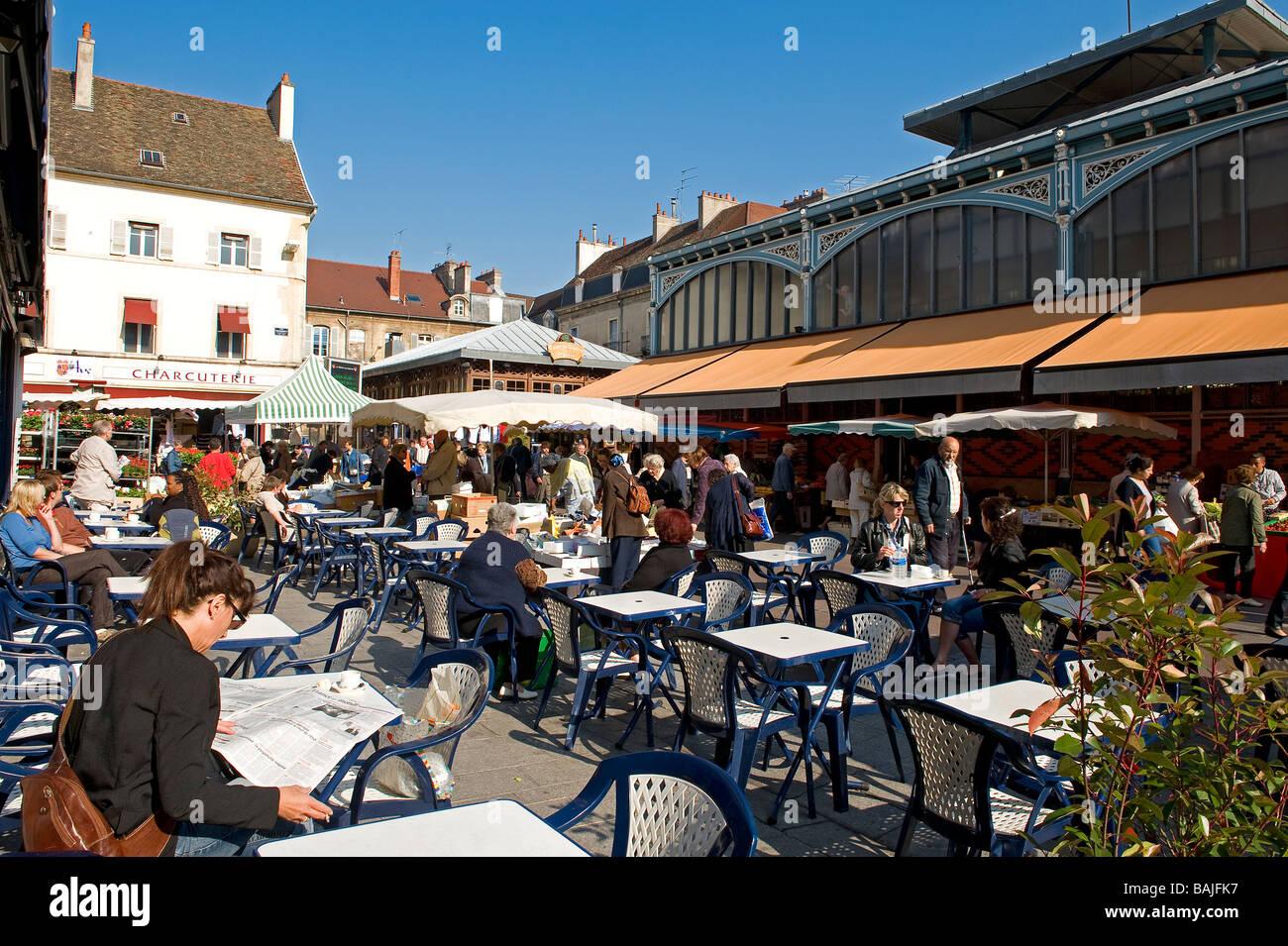 France Côte D Or Dijon Café Terrasse Devant Les Halles