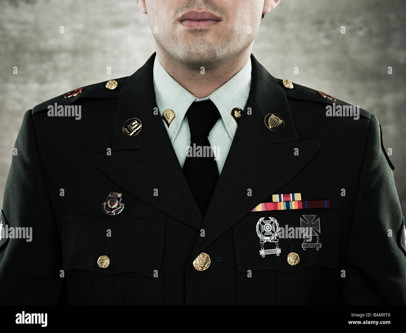 Portrait d'un soldat en uniforme Banque D'Images