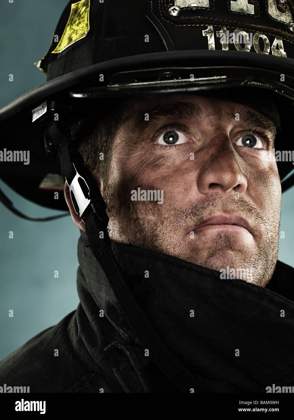 Portrait d'un pompier Photo Stock