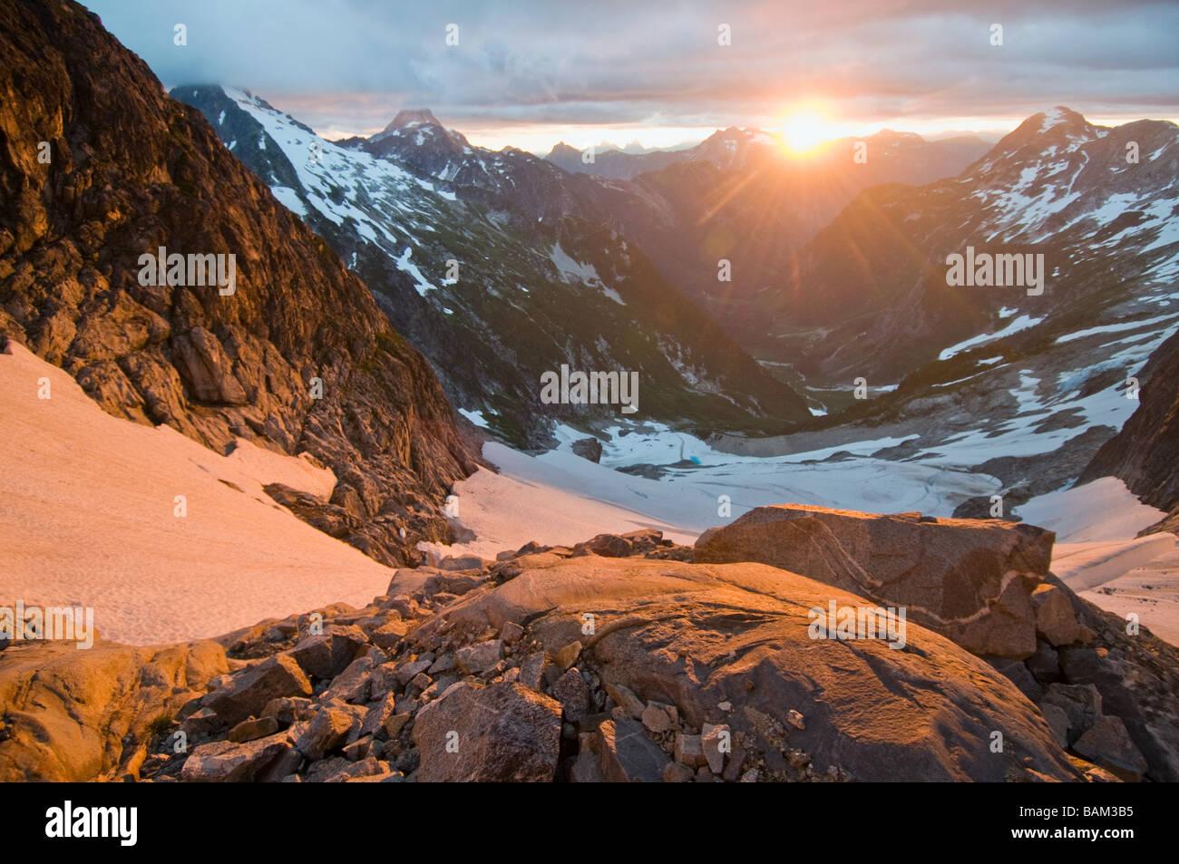 Lever de soleil sur North Cascades National Park Photo Stock