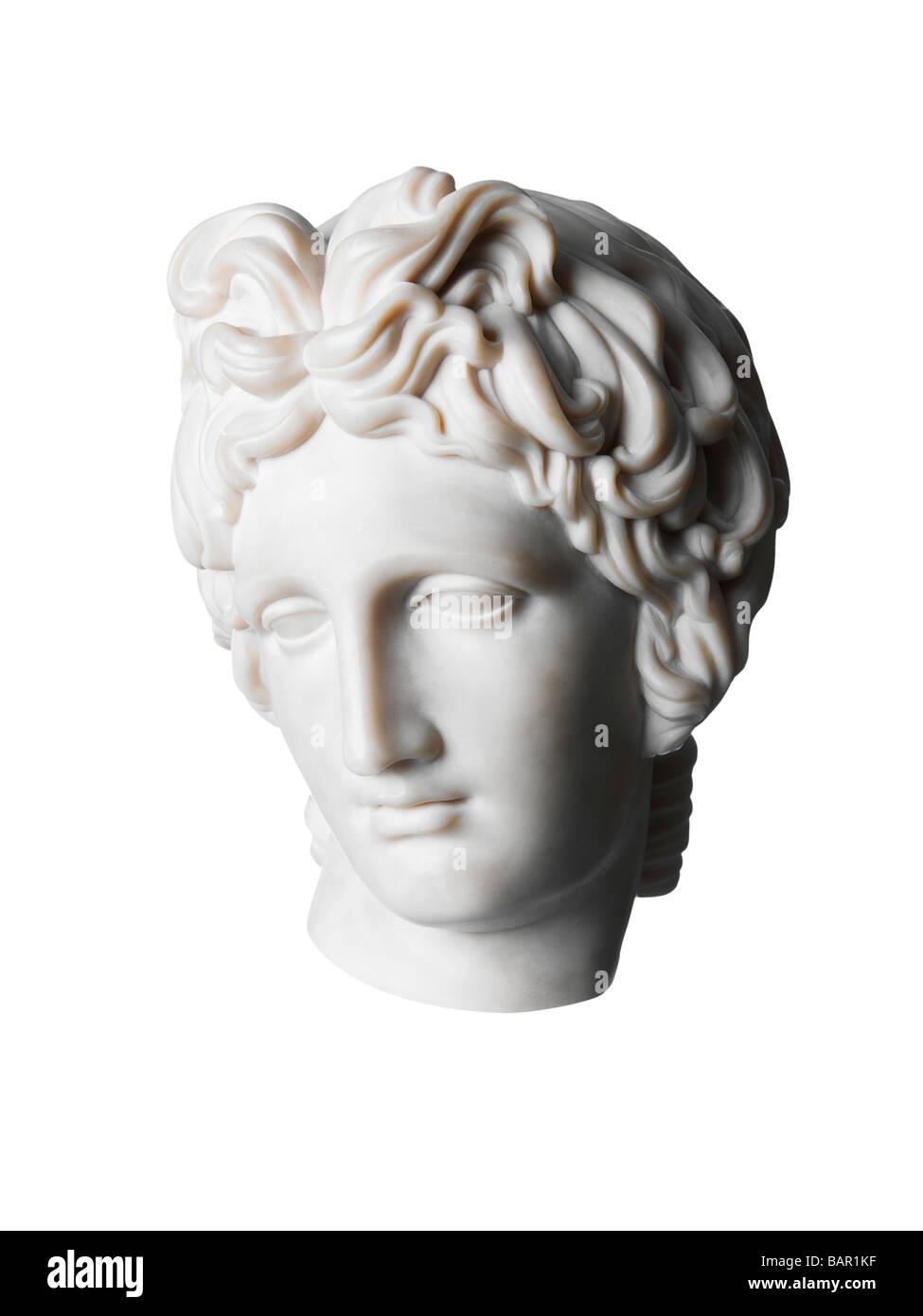 Tête de femme romaine sculpture en marbre classique Photo Stock