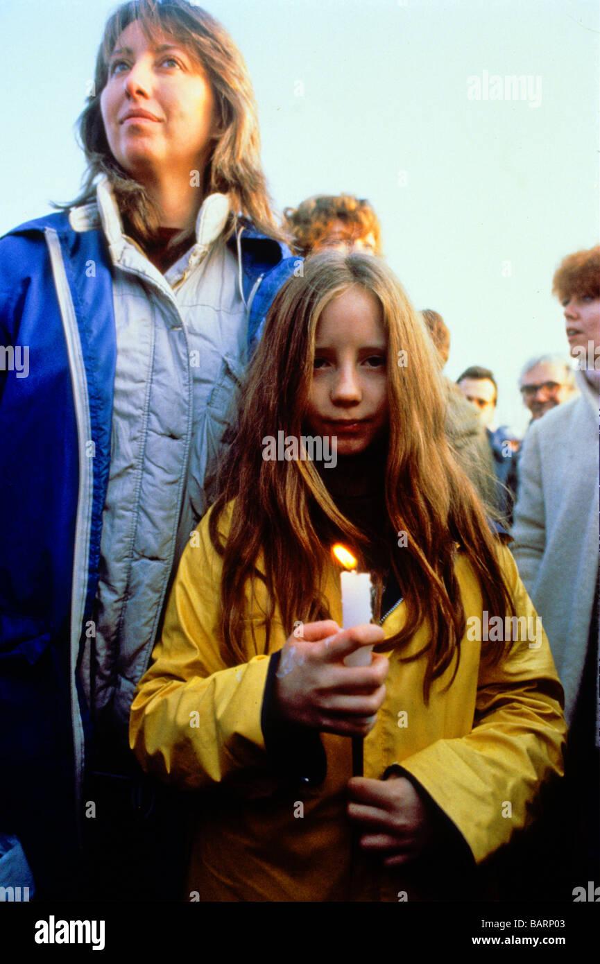 Greenham Berkshire UK Décembre 1982 manifestants à l'Greenham Common Women's Peace Camp Photo Stock