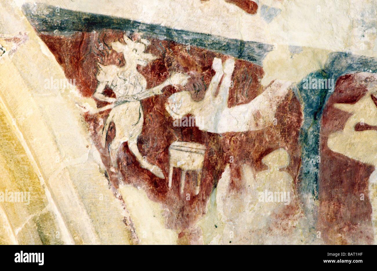 Peinture Murale Médiévale Cambridgeshire Broughton Le Diable