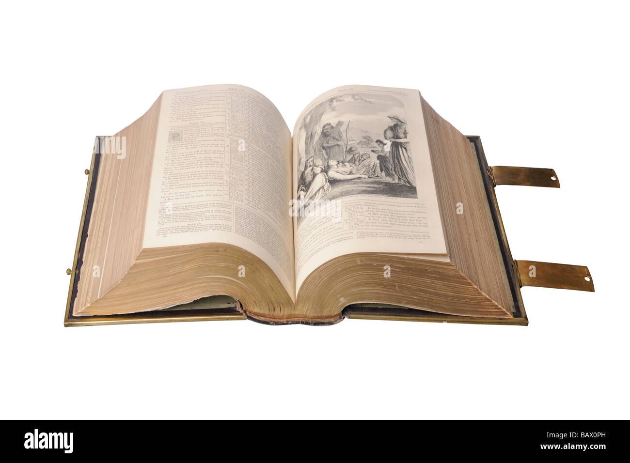 Ancienne Sainte Bible illustrée Photo Stock