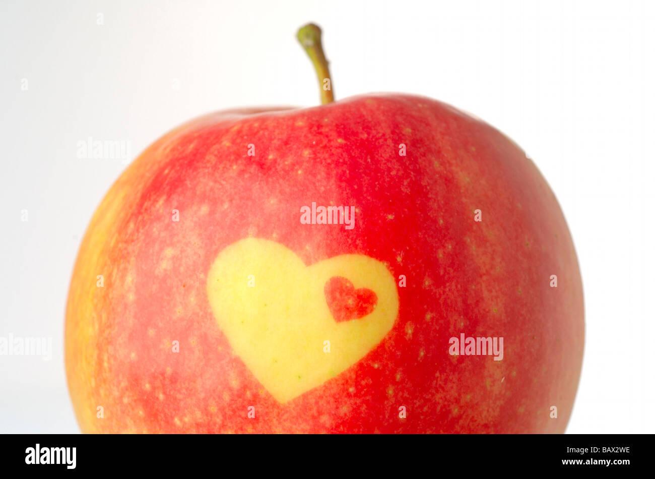 Avec Apple sous forme de chaleur décorative Banque D'Images