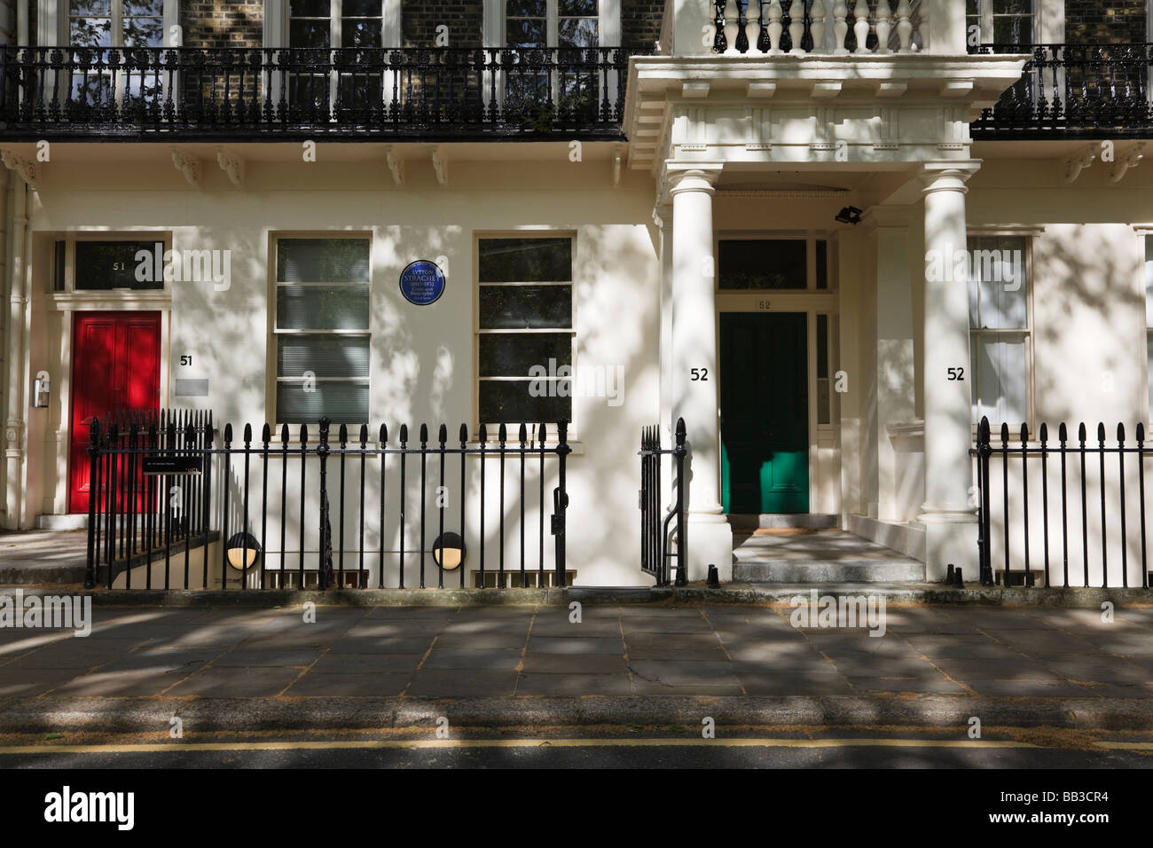 51 et 52 51 carrés Gordon était la maison de Lytton Strachey Bloomsbury Londres UK Banque D'Images