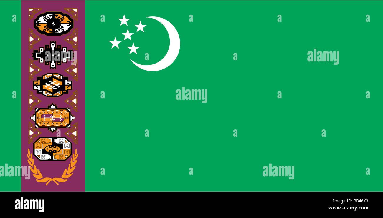 Drapeau historique du Turkménistan, un pays d'Asie centrale, de 1997 à 2001. Photo Stock