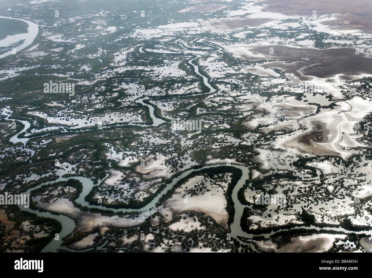 Vue aérienne du delta du fleuve Casamance près de Ziguinchor, Sénégal Photo Stock