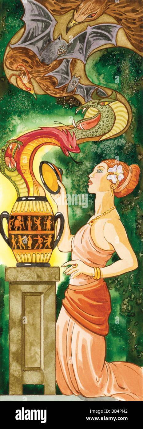 Dans la mythologie grecque, Pandore et désobéi à Zeus et ouvrit la boite qui contenait tous les maux Photo Stock