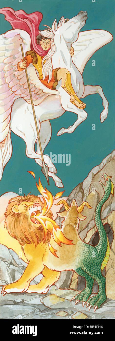 Pégase, le cheval ailé de la mythologie grecque, en vedette dans de nombreuses histoires. Photo Stock