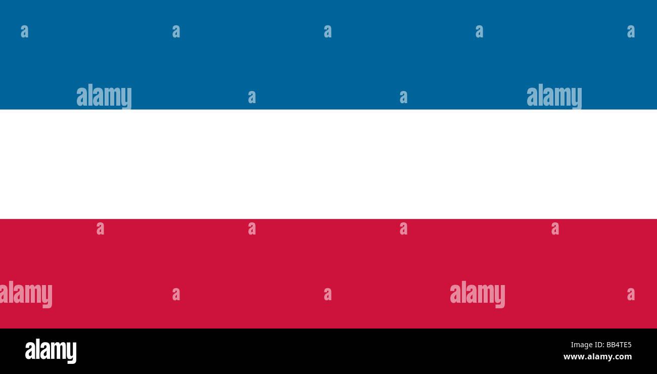 Drapeau historique de la Serbie-et-Monténégro (anciennement le drapeau de Yougoslavie) Photo Stock