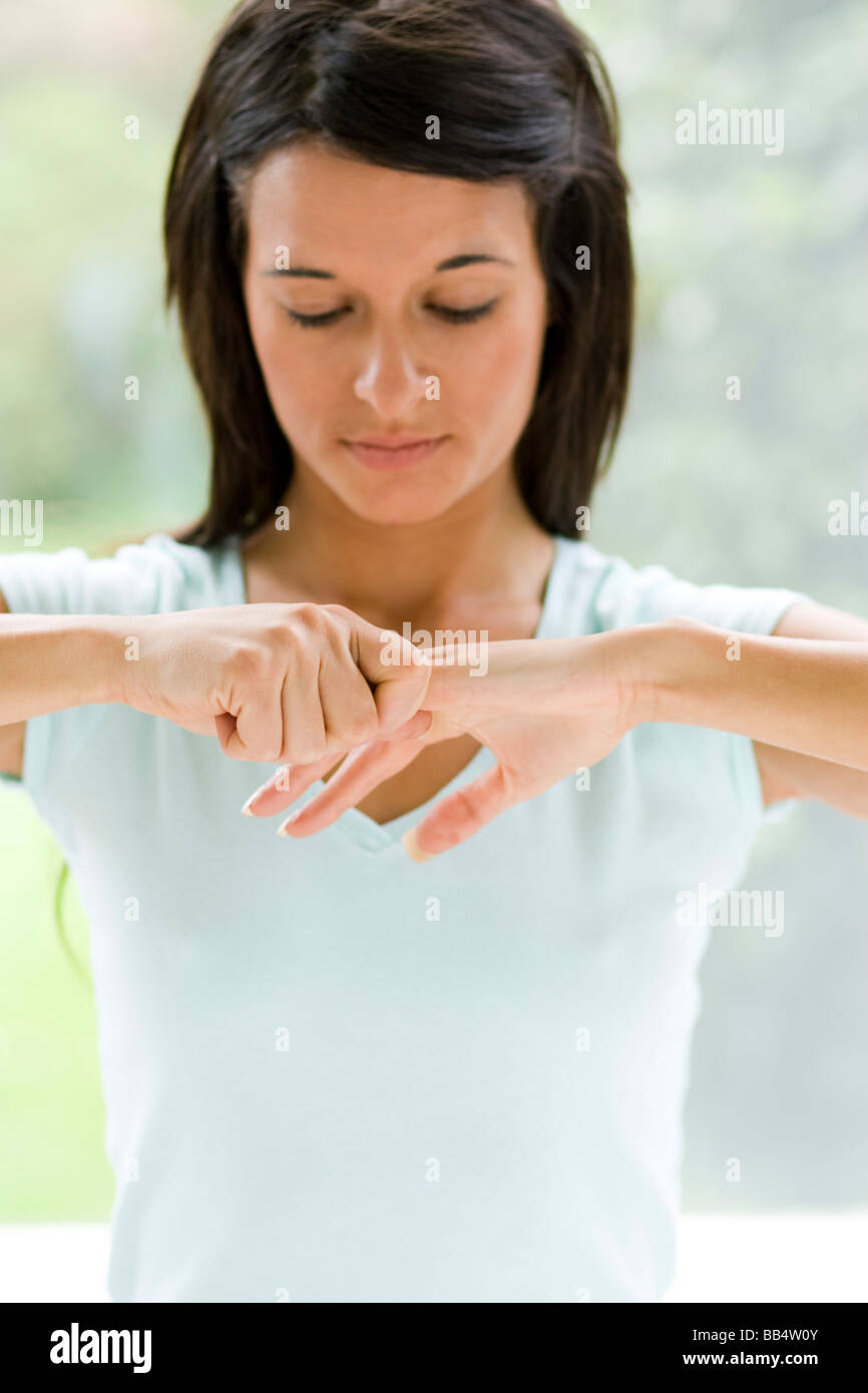 Girl pulling fingers Photo Stock