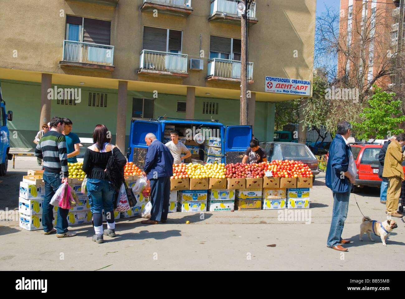 Vendeur Apple au principal marché de Skopje Macédoine Europe Photo Stock