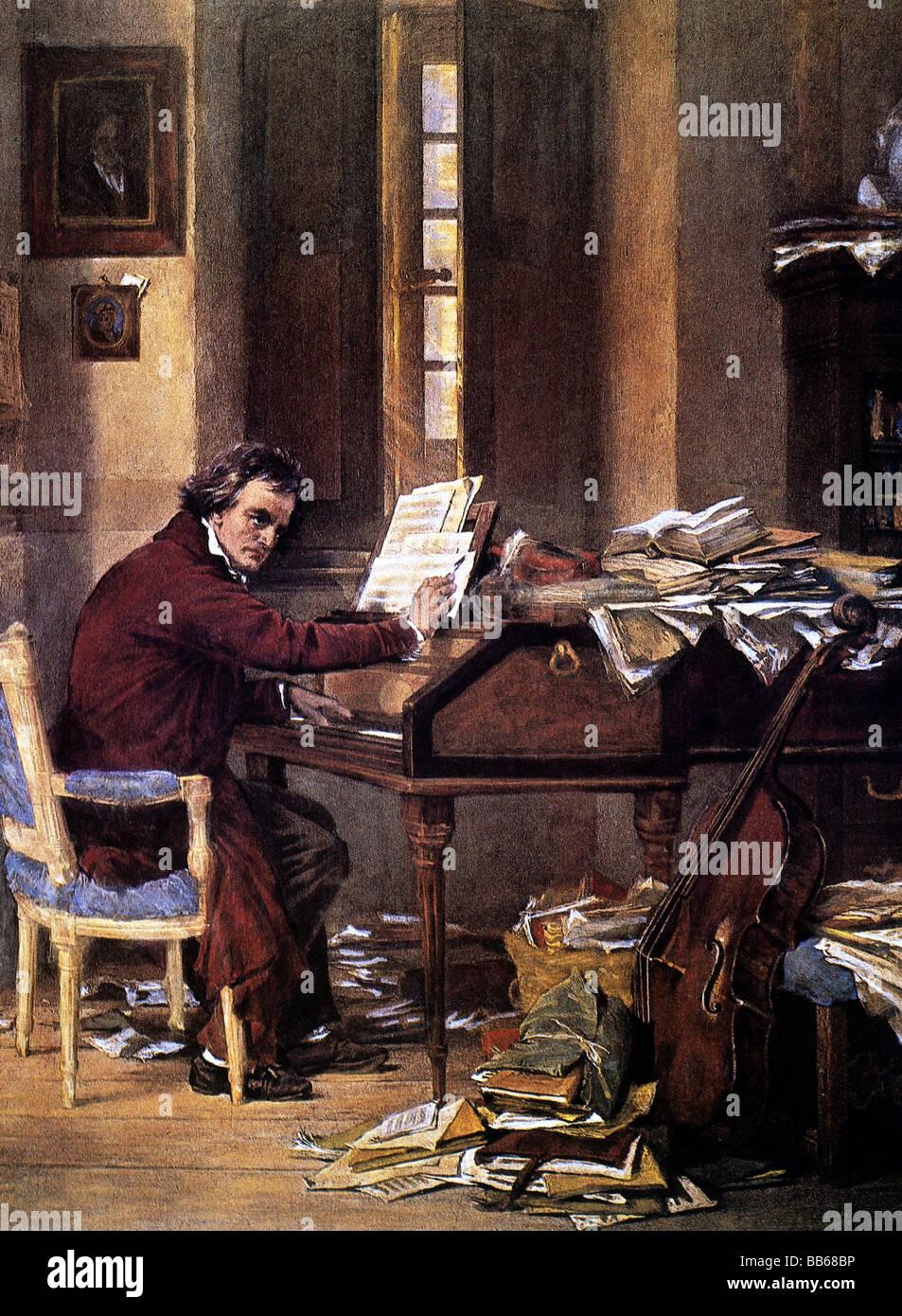 Beethoven, Ludwig van, 17.12.1770 - 26.3.1827, compositeur allemand, demi-longueur, au travail, la peinture d'histoire Photo Stock
