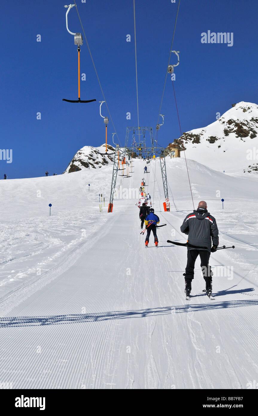 Téléski, Jochdohle, 3150 m, à l'Stubaier-Gletscher, glacier, Tyrol, Autriche, Europe Photo Stock