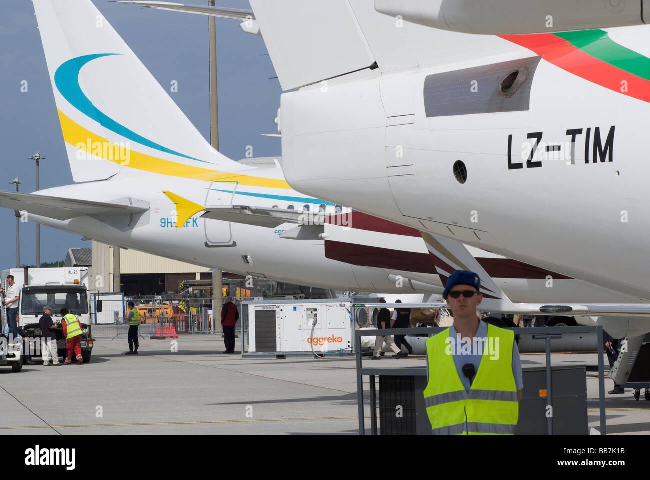 Les Jets d'affaires au Salon EBACE avion à l'aéroport de Genève Suisse Geneve Suisse Banque D'Images