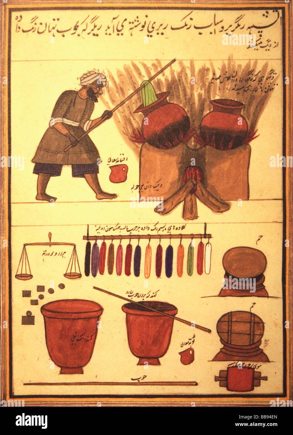 Un Arabe dyer la teinture tissu. Les outils de son métier ci-dessous Photo Stock