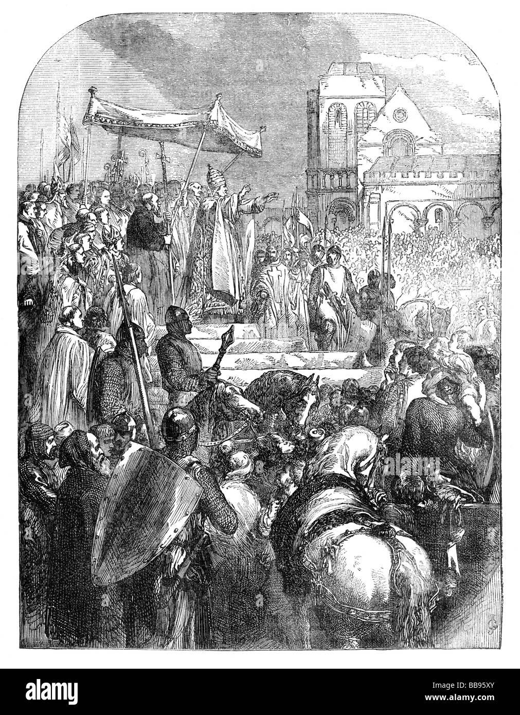 Le pape Urbain II prêche la première croisade au concile de Clermont Photo Stock