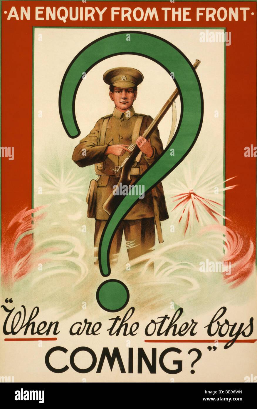 Affiche de recrutement de la Première Guerre mondiale publié en Irlande Photo Stock